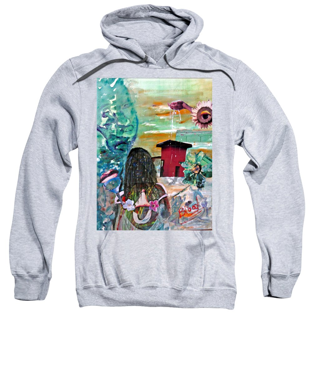 Water Sweatshirt featuring the painting Masks Of Life by Peggy Blood