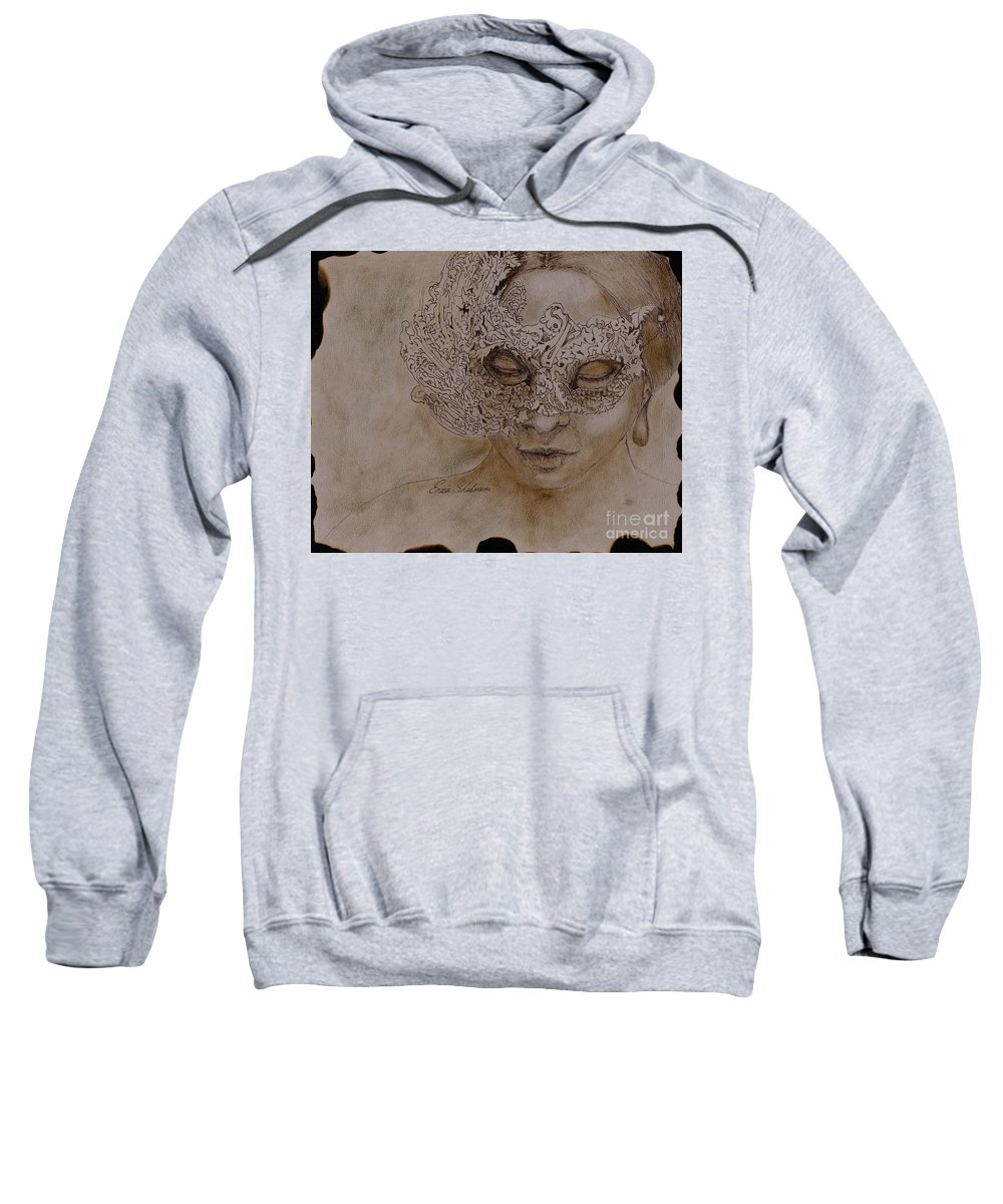 Mask Sweatshirt featuring the drawing Masquerade by Portraits By NC