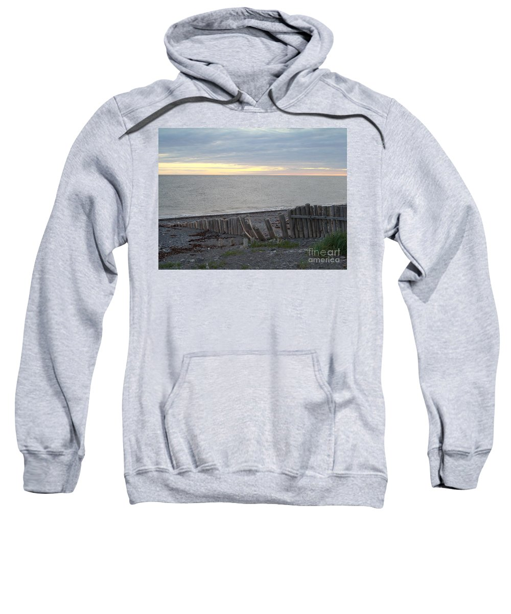 Seascape Sweatshirt featuring the photograph Matane In The Morning... by Line Gagne