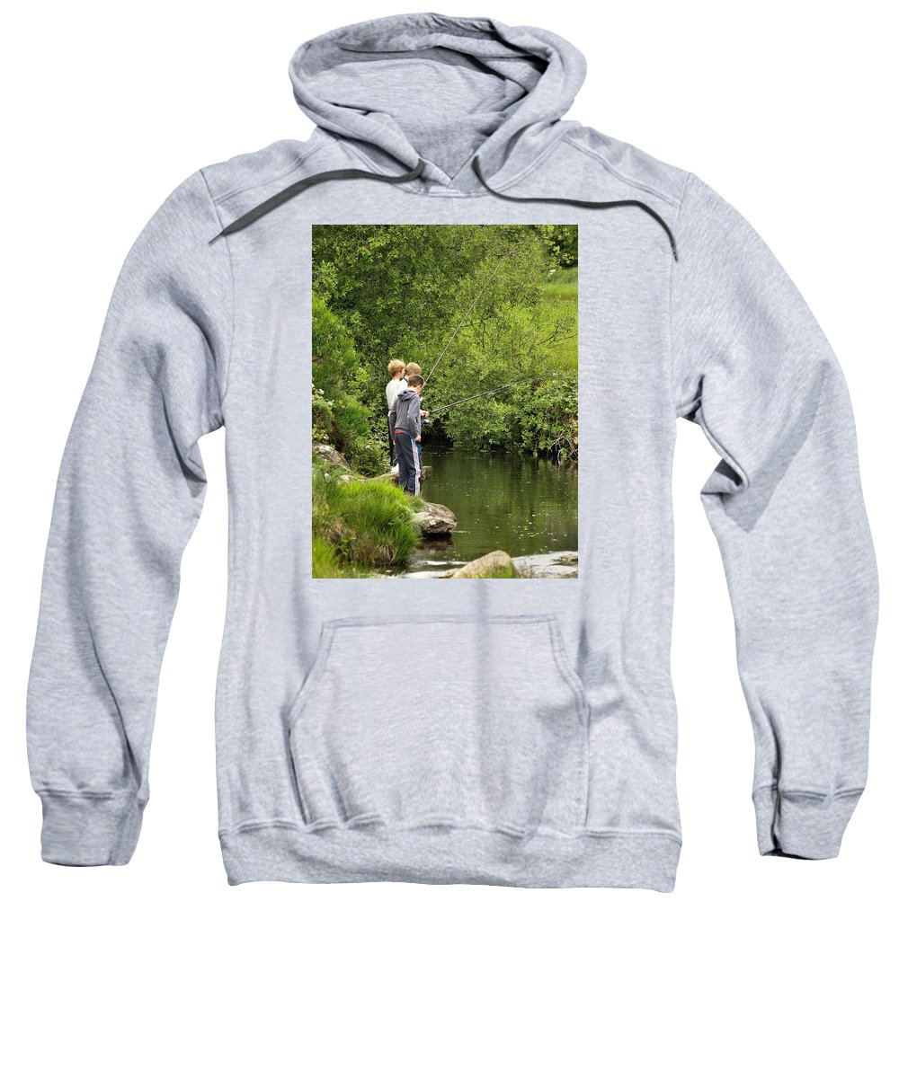 Fishing Sweatshirt featuring the photograph Mates Fishing by Richard Denyer