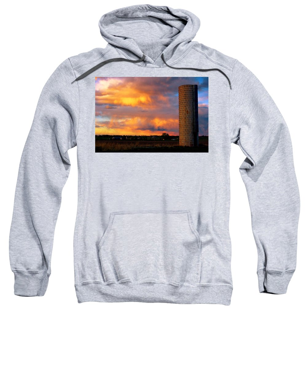 Sunset Sweatshirt featuring the photograph May Day Silo Sunset by James BO Insogna