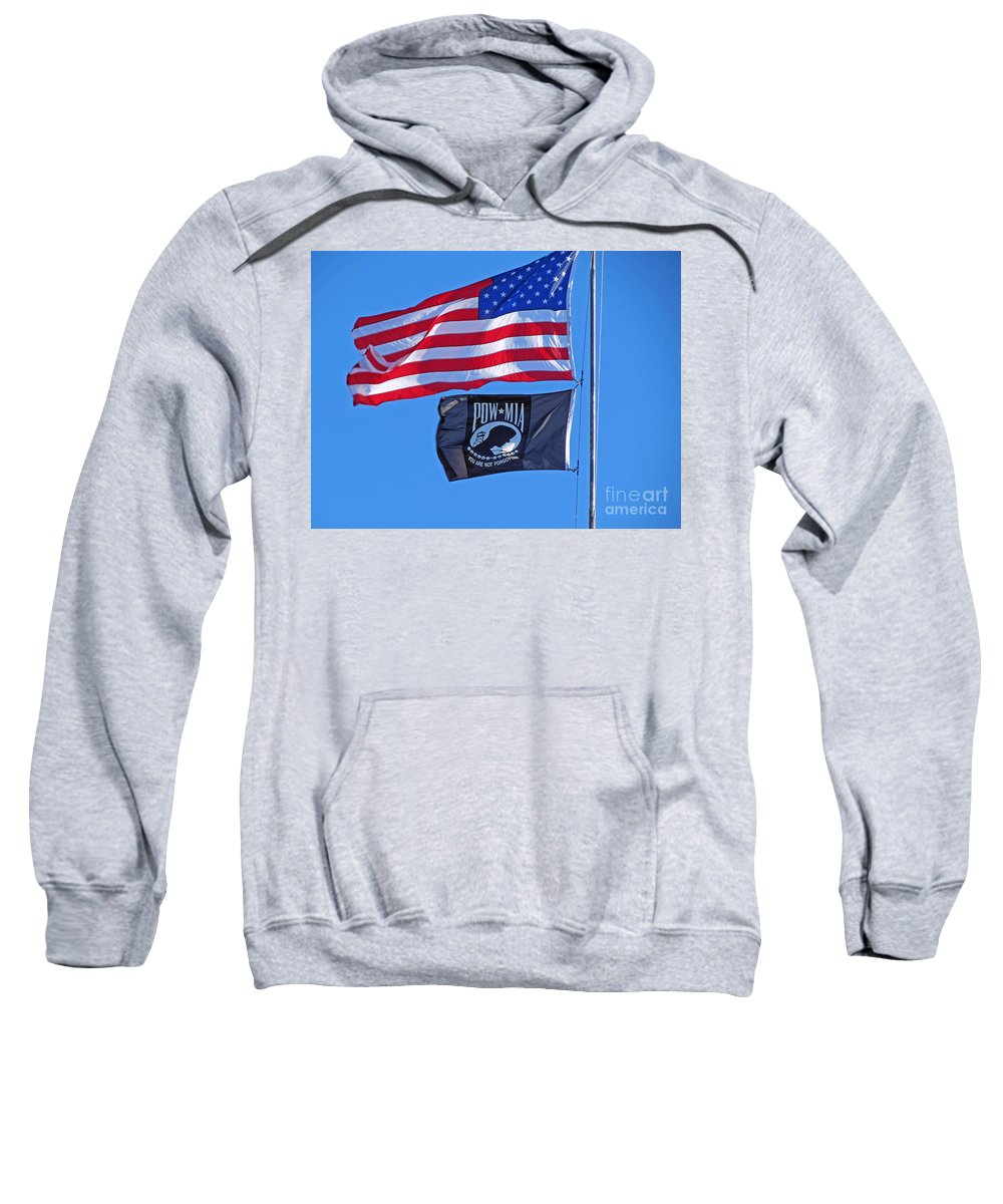 Flags Sweatshirt featuring the photograph May We Always Remember by Kay Novy