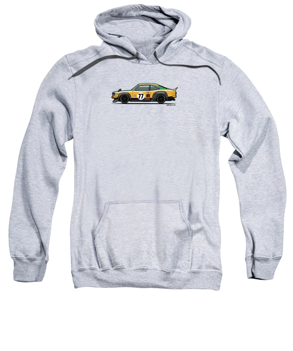 Car Sweatshirt featuring the digital art Mazda Savanna Gt Rx3 Racing Yoshimi Katayama 1975 by Monkey Crisis On Mars