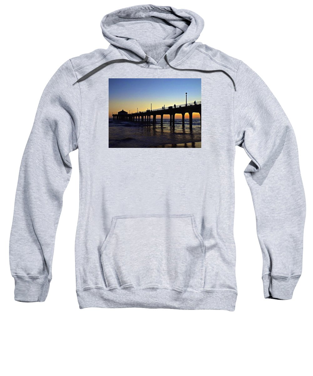 Wave Sweatshirt featuring the photograph Mb Pier Sunset by Michael Cappelli