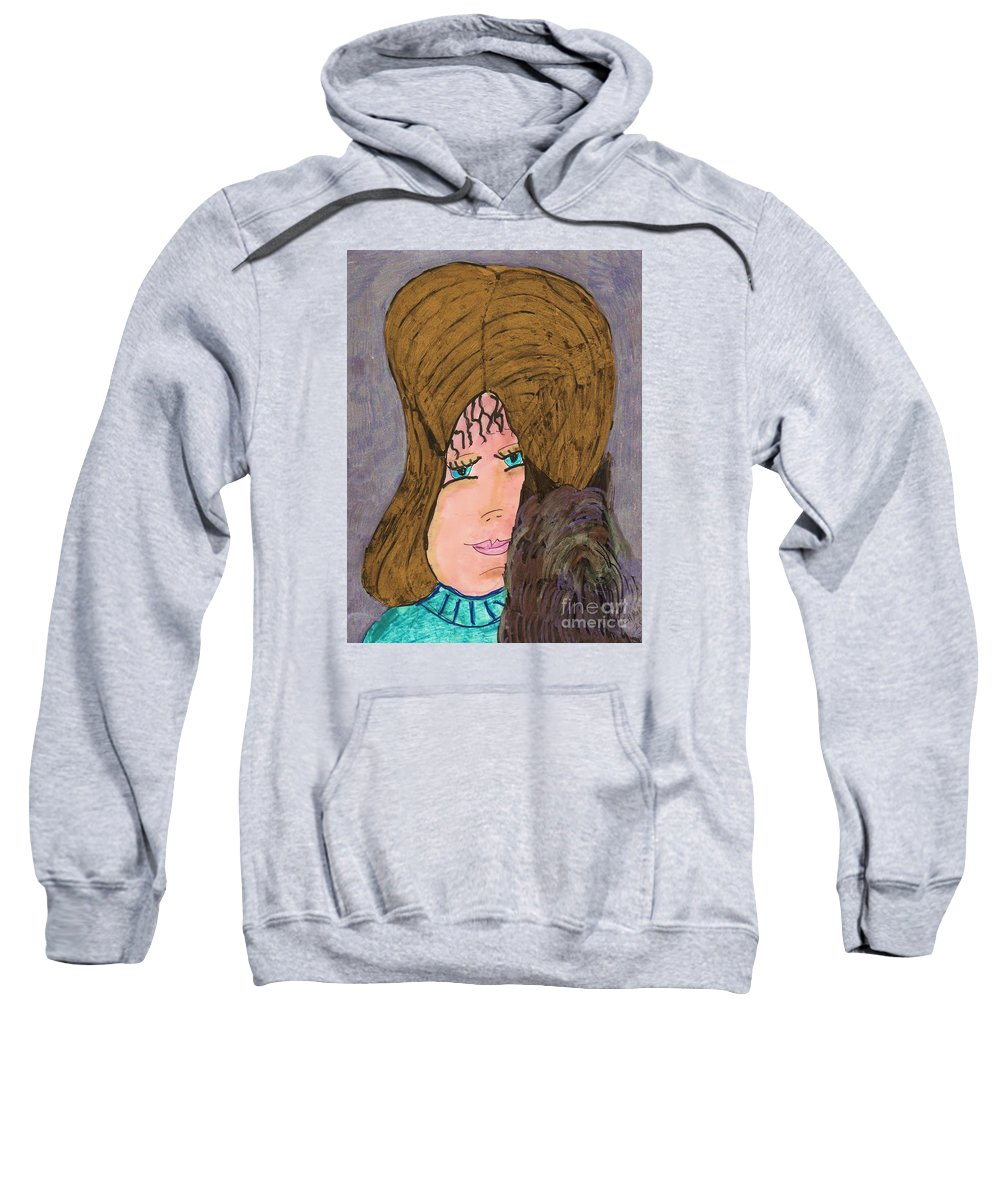 Pretty Golden Haired Blue Eyed Girl Holdting A Small Long Haired Dog Sweatshirt featuring the mixed media Me And My Silky Terrier by Elinor Helen Rakowski