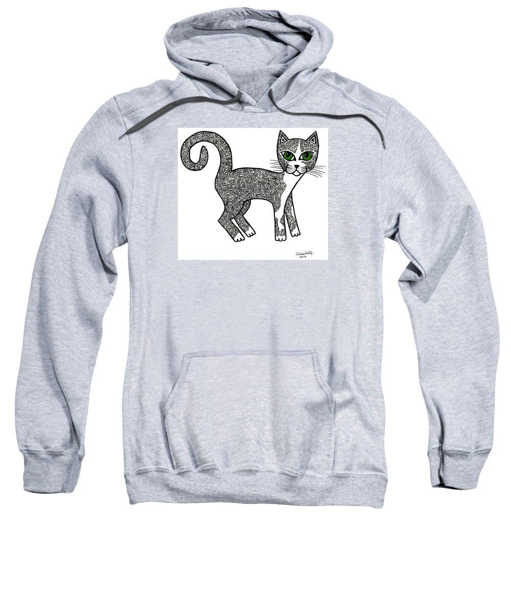 Mecheruca Sweatshirt featuring the drawing Mecheruca by Madalena Lobao-Tello