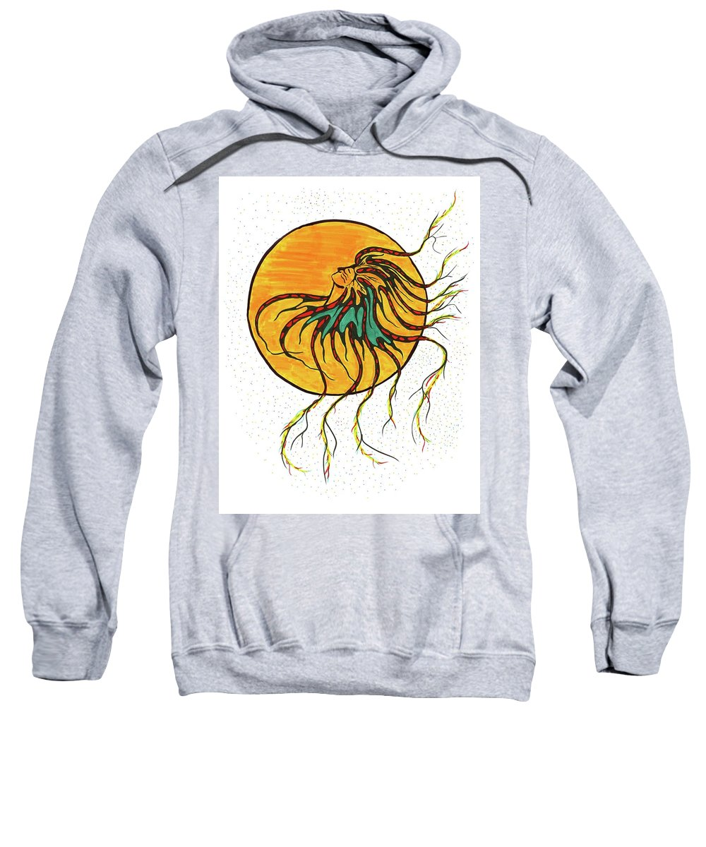 Indigenous Sweatshirt featuring the drawing Medicine Woman by Colleen Gray