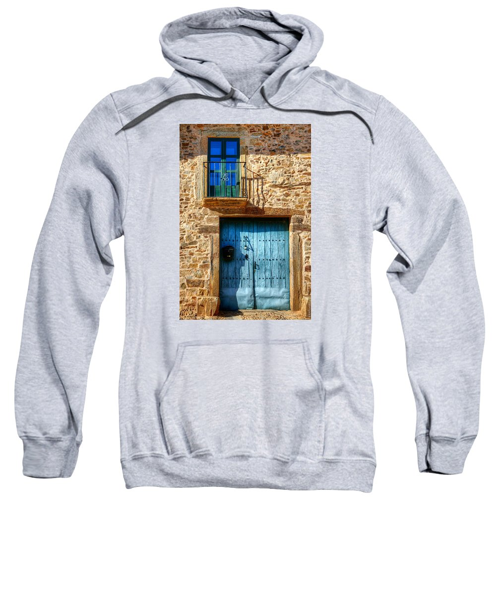 Gate Sweatshirt featuring the photograph Medieval Spanish Gate And Balcony by Weston Westmoreland
