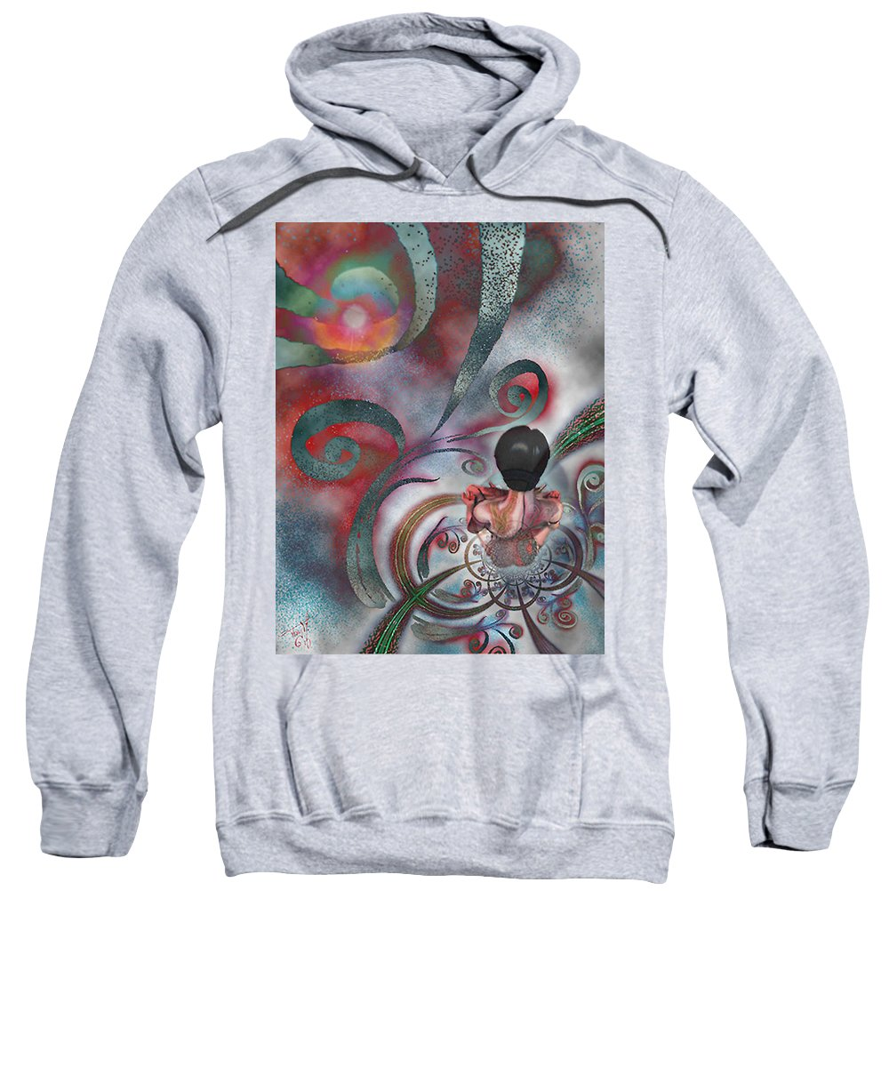 Contemplating Sweatshirt featuring the digital art Meditating Life Universe And Beyond by Tony Macelli