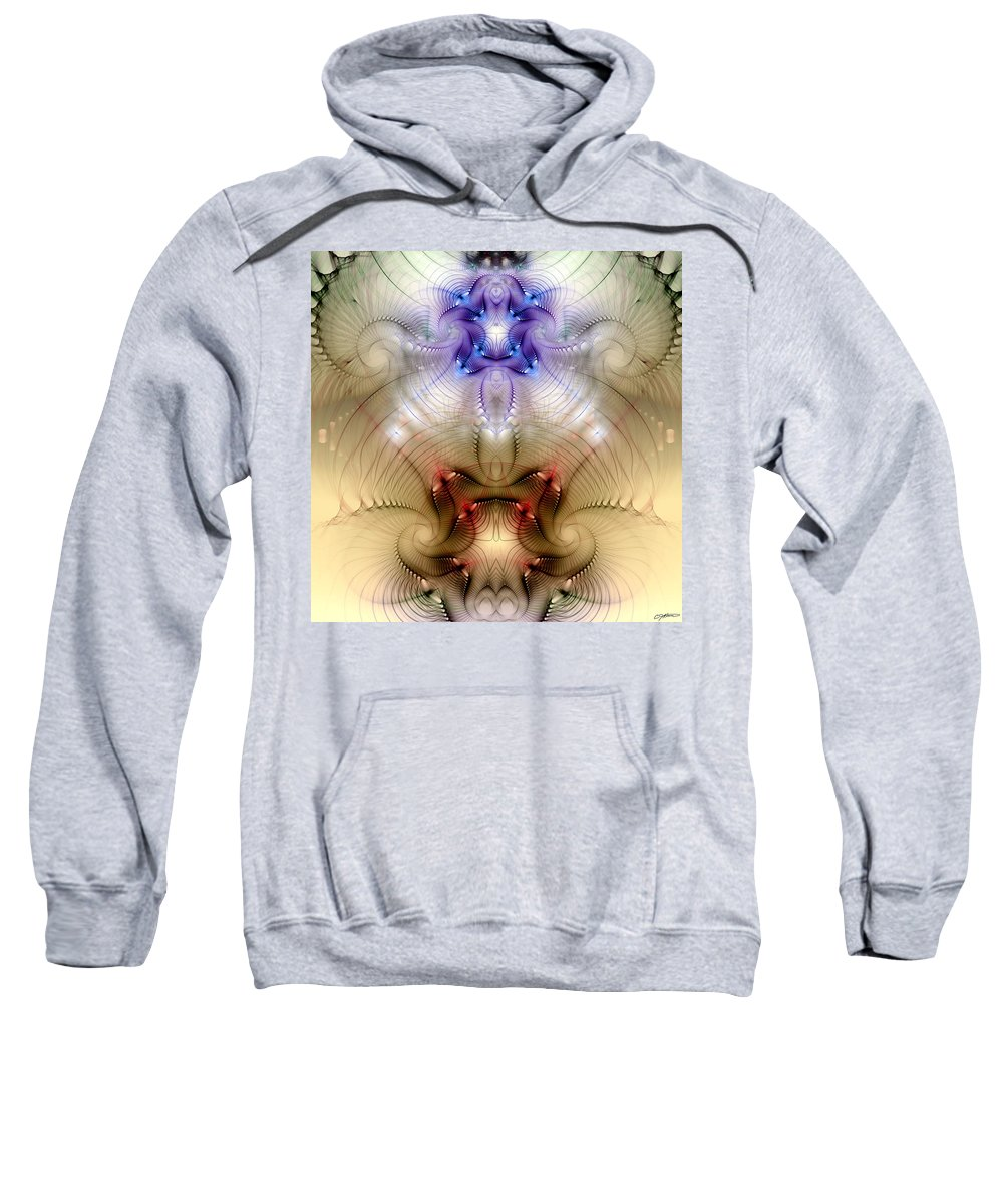 Abstract Sweatshirt featuring the digital art Meditative Symmetry 3 by Casey Kotas