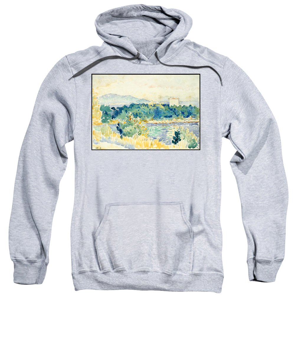 Mediterranean Landscape With A White House Sweatshirt featuring the painting Mediterranean Landscape With A White House by MotionAge Designs