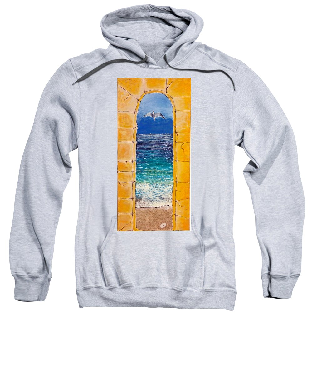Beach Sweatshirt featuring the painting Mediterranean Meditation by V Boge