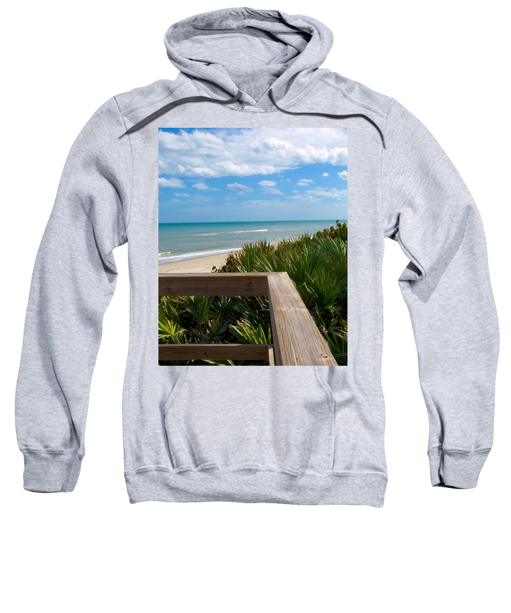 Beach; February; Florida; Warm; Warmth; Temperature; Degrees; Weather; Sun; Melbourne; Sand; Shore; Sweatshirt featuring the photograph Melbourne Beach In Florida by Allan Hughes