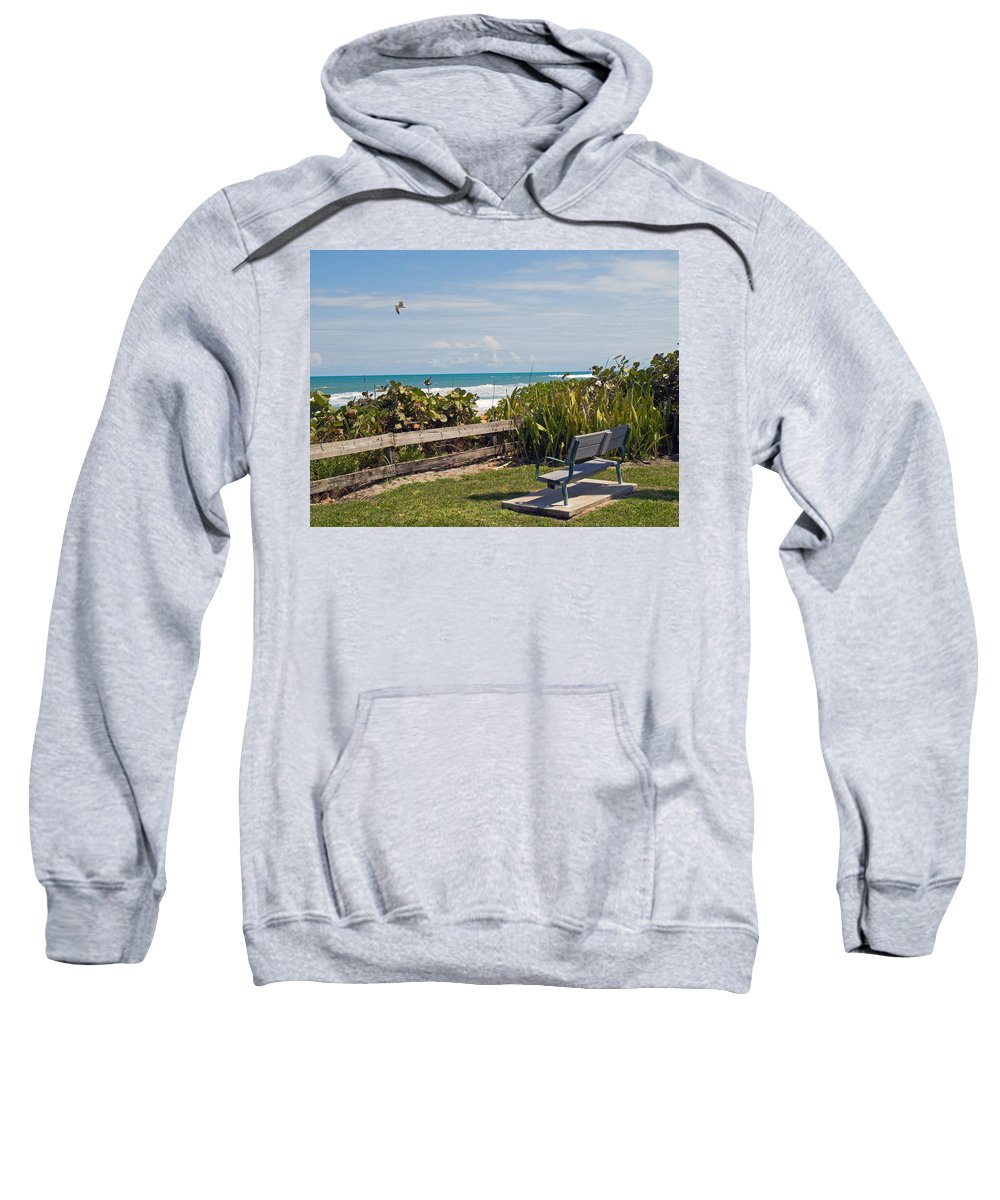 Bench; Public; Florida; Melbourne; Beach; Coast; Shore; Surf; Sand; Brevard; Space; Ocean; Sea; Atla Sweatshirt featuring the photograph Melbourne Beach In Florida Usa by Allan Hughes