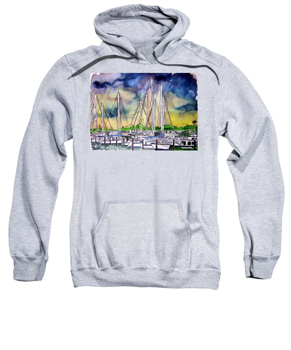 Boat Sweatshirt featuring the digital art Melbourne Florida Marina by Derek Mccrea