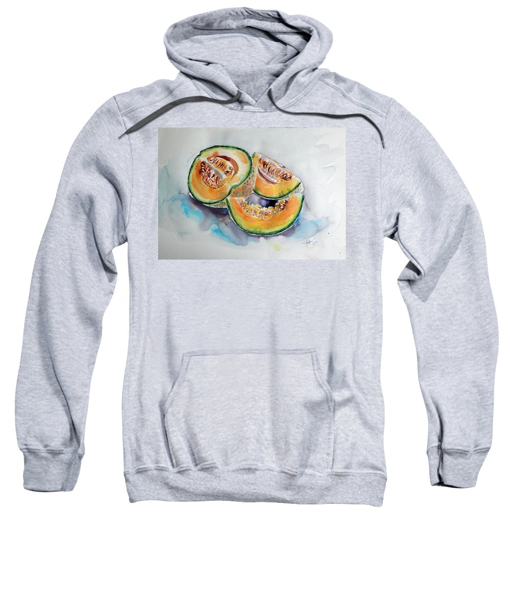 Melon Sweatshirt featuring the painting Melon by Kovacs Anna Brigitta