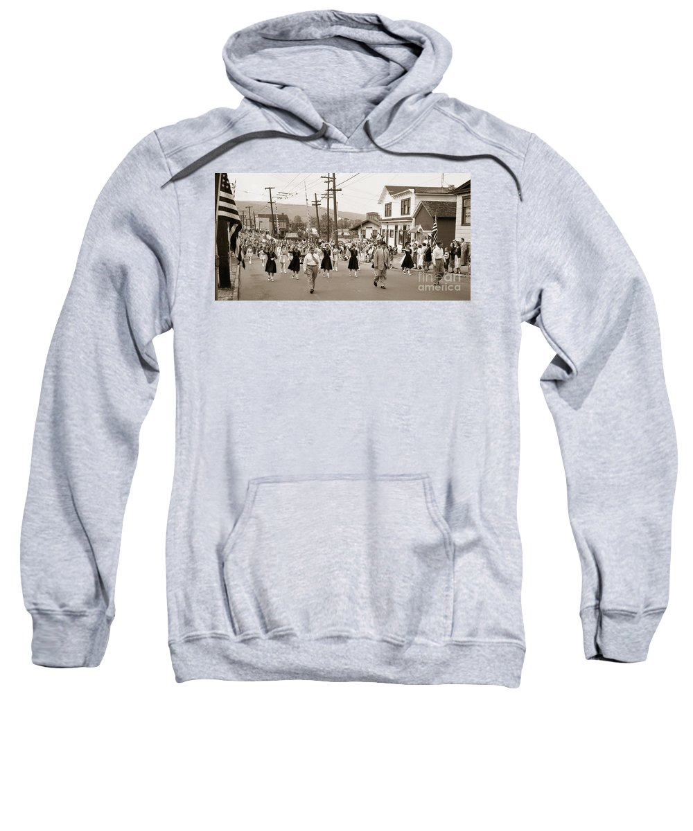 Wilkes Barre Sweatshirt featuring the photograph Memorial Day Parade Ashley Pa With Train Station And The Huber Colliery In Background 1955 by Arthur Miller