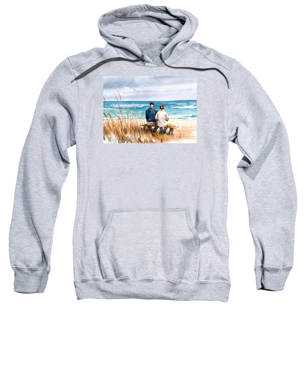 Couple On Beach Sweatshirt featuring the painting Memories by Art Scholz