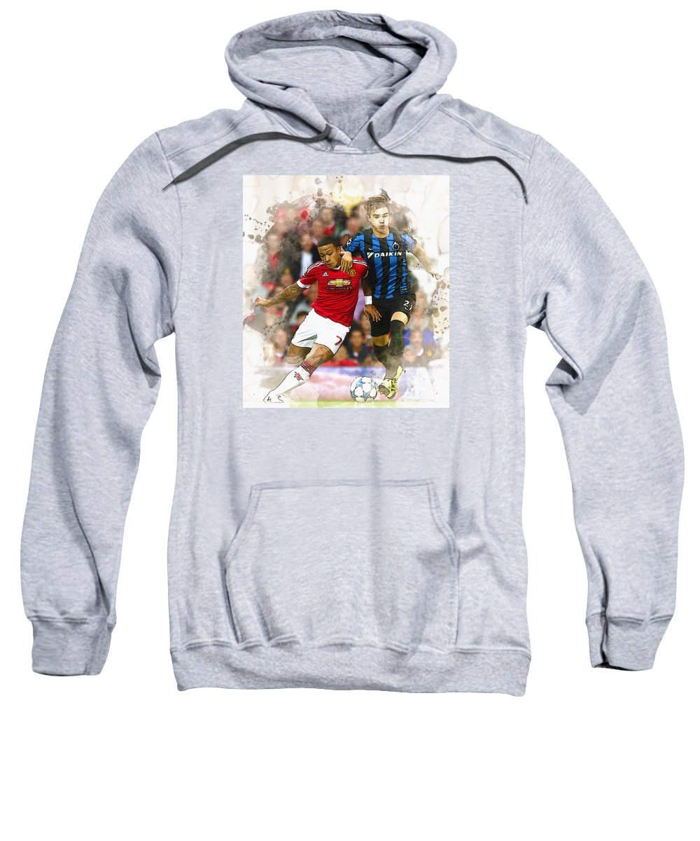 Uefa Chamipons League Sweatshirt featuring the digital art Memphis Depay Of Manchester United In Action by Don Kuing