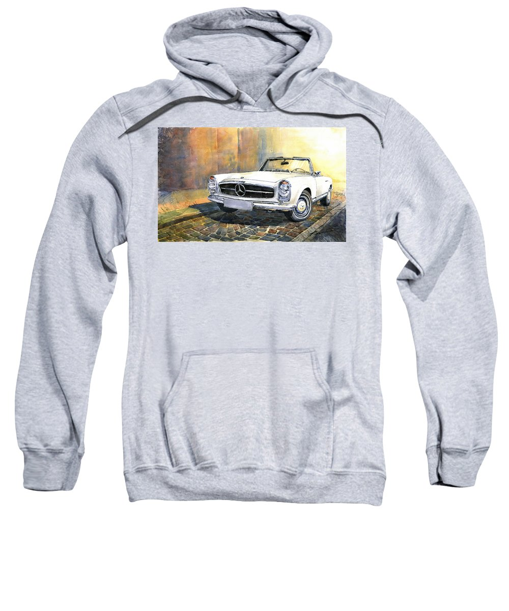 Auto Sweatshirt featuring the painting Mercedes Benz W113 280 Sl Pagoda Front by Yuriy Shevchuk