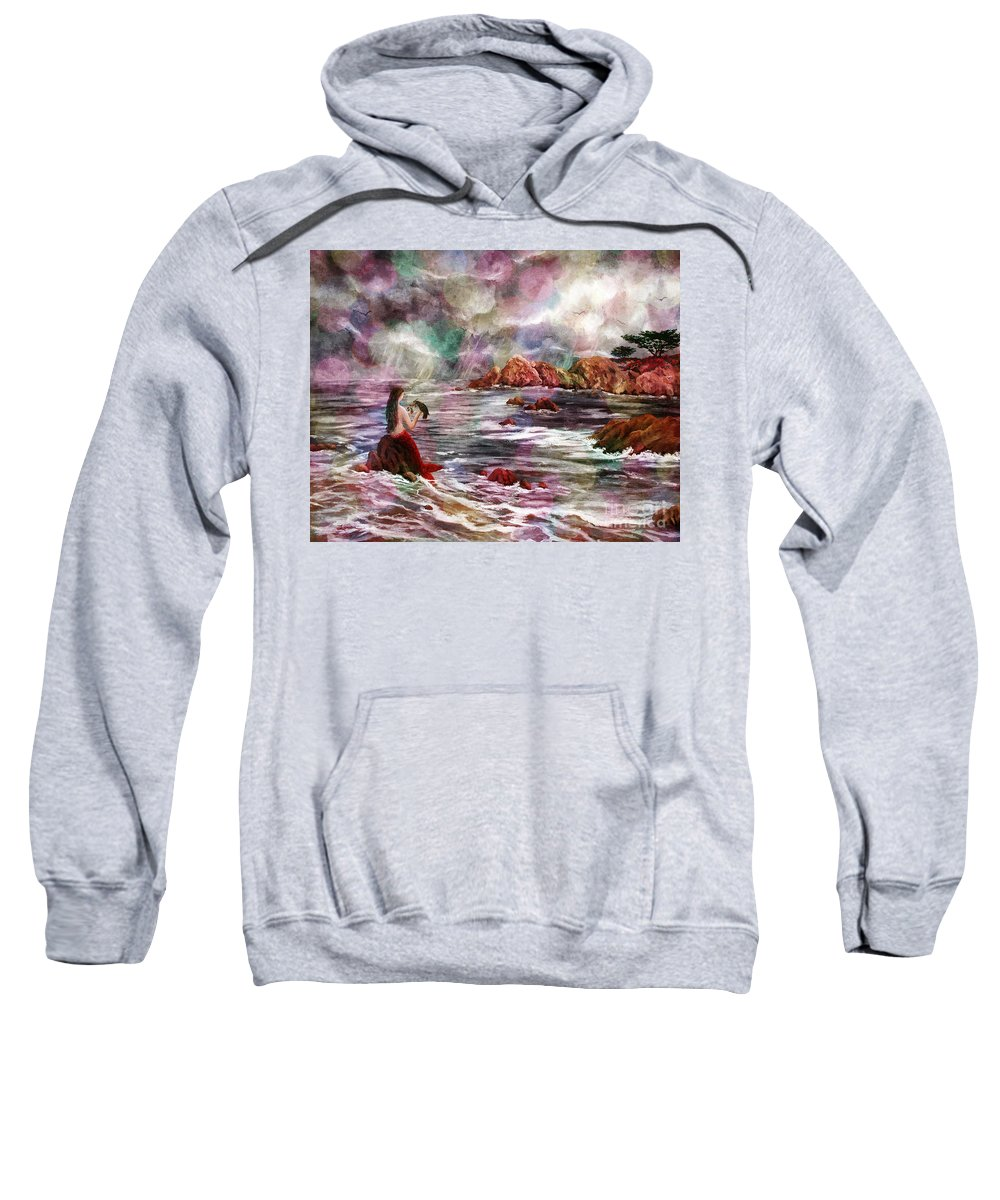 Dreamy Sweatshirt featuring the digital art Mermaid In Rainbow Raindrops by Laura Iverson