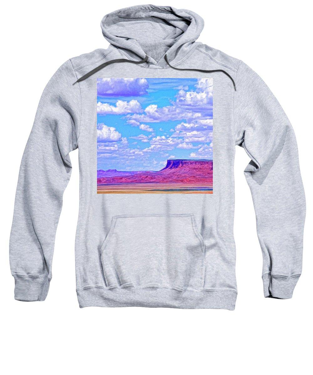 Mesa At Vermilion Cliffs Sweatshirt featuring the painting Mesa At Vermilion Cliffs by Dominic Piperata