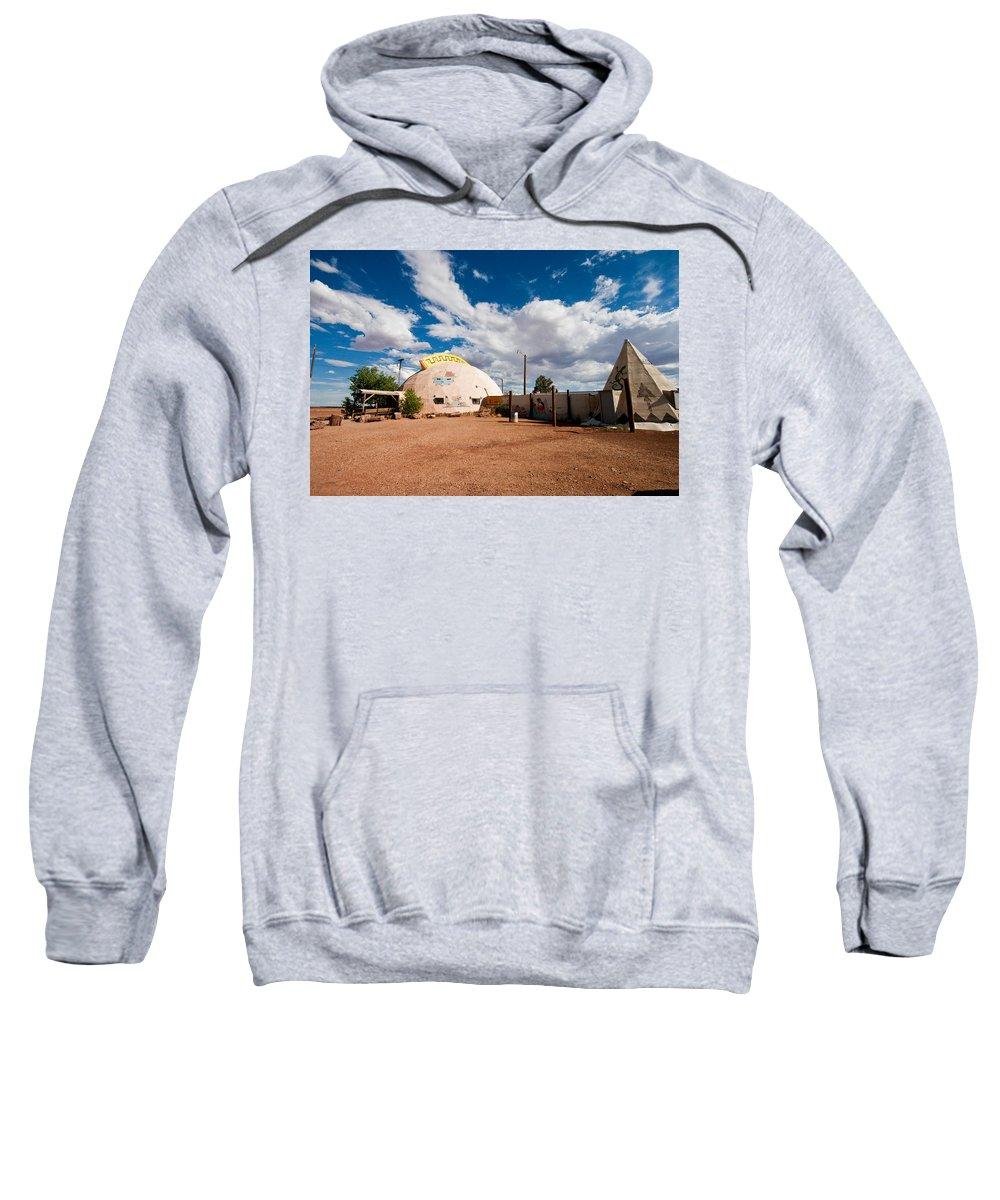 Meteor City Sweatshirt featuring the photograph Meteor City Trading Post by Robert J Caputo