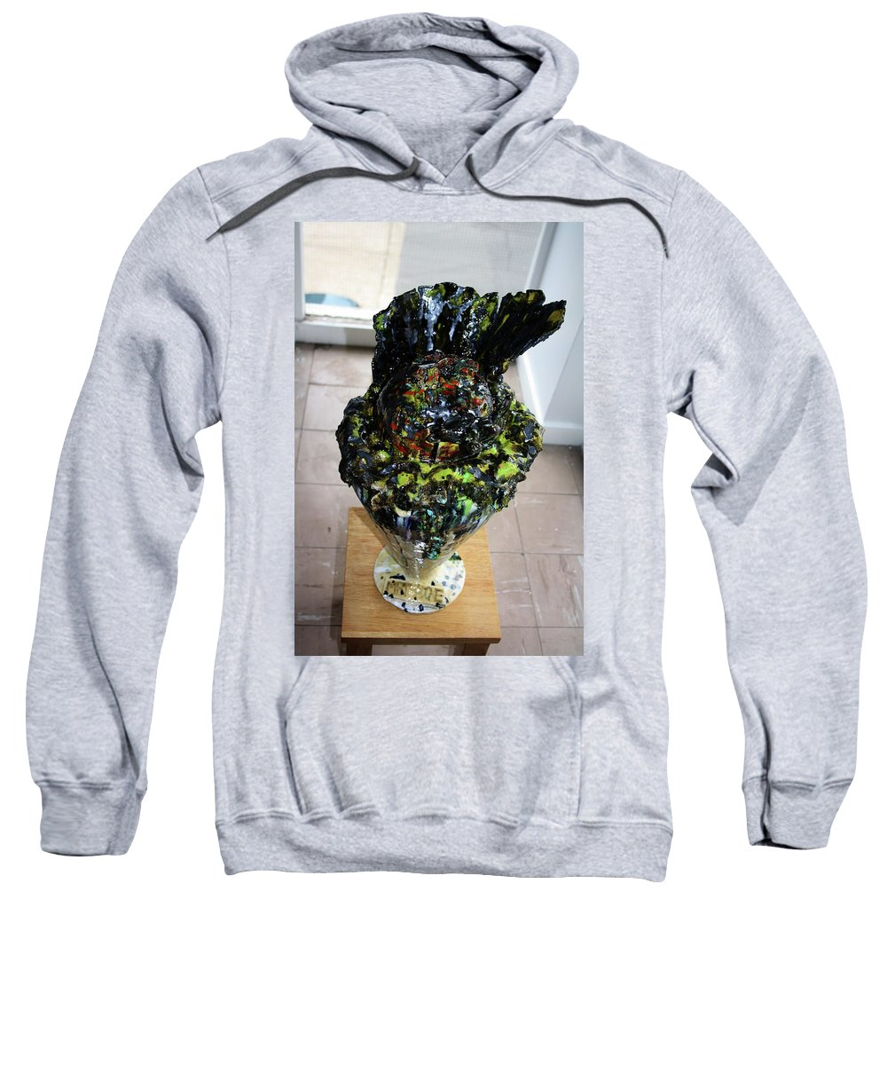 Jesus Sweatshirt featuring the sculpture Methadone Explosion View Three by Gloria Ssali