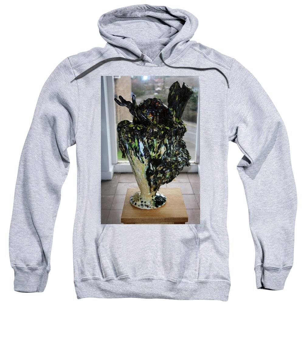 Jesus Sweatshirt featuring the sculpture Methadone Explosion View Two by Gloria Ssali