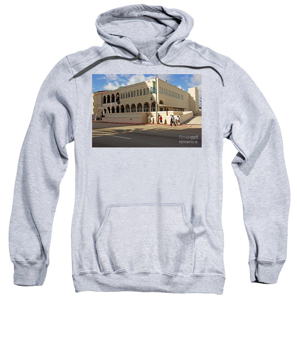 Synagogue Sweatshirt featuring the photograph Miami Beach Synagogue Saturday Morning by Zal Latzkovich