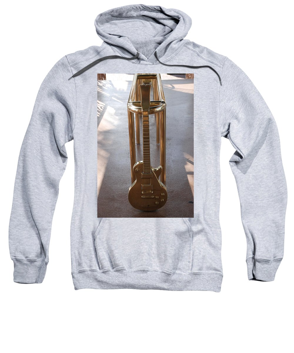Brass Sweatshirt featuring the photograph Miami Hard Rock Brass Rail by Rob Hans