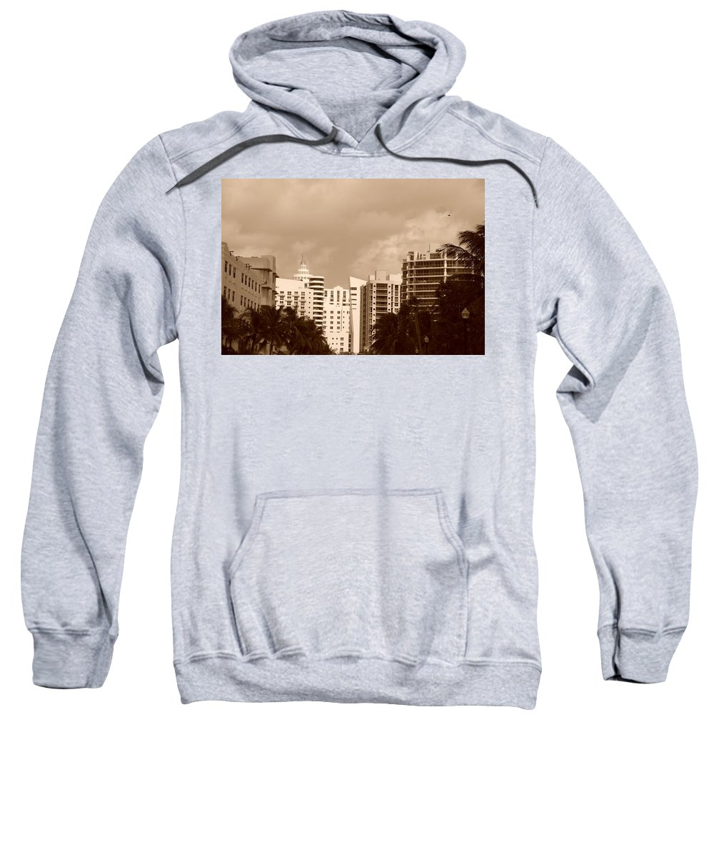 Sepia Sweatshirt featuring the photograph Miami Sepia Sky by Rob Hans