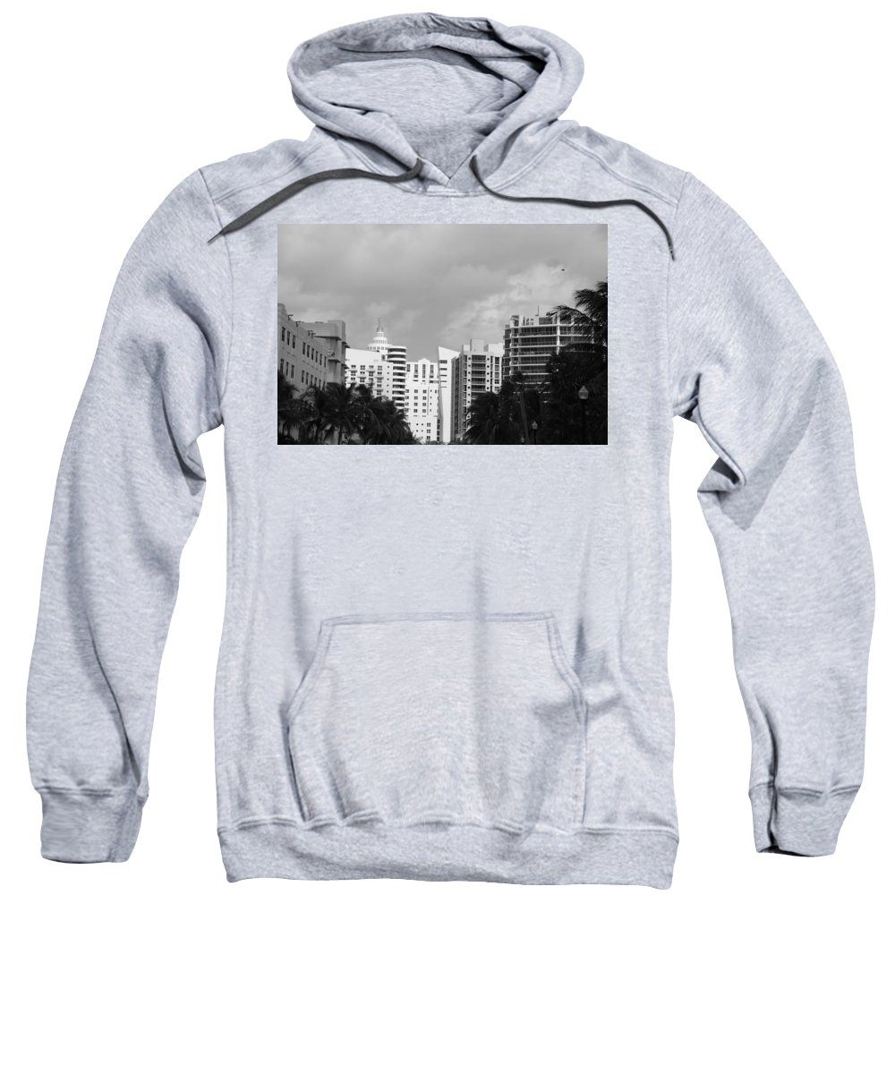 Black And White Sweatshirt featuring the photograph Miami Sky by Rob Hans
