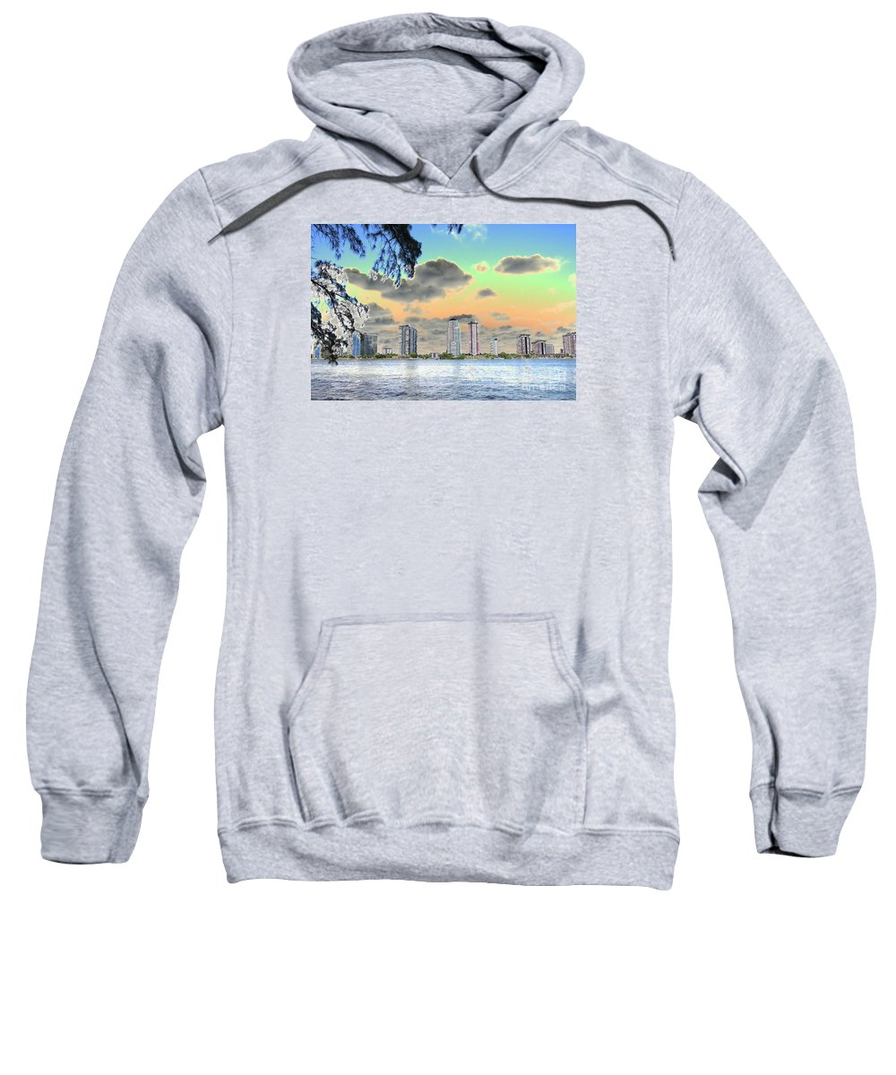 Miami Sweatshirt featuring the photograph Miami Skyline Abstract by Christiane Schulze Art And Photography