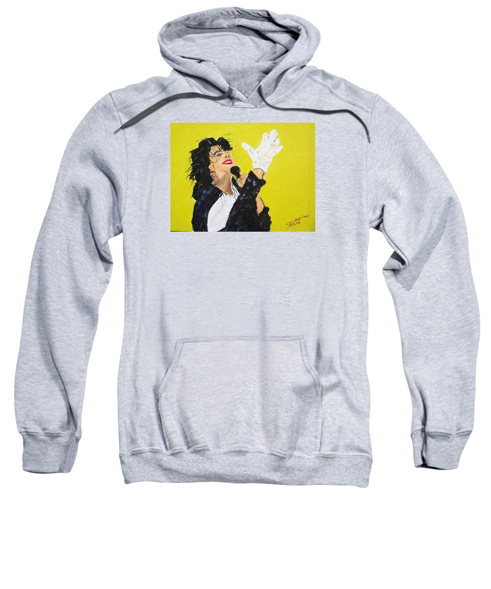 Michael Jackson Sweatshirt featuring the painting Michael Jackson The Hand by Arlene Wright-Correll