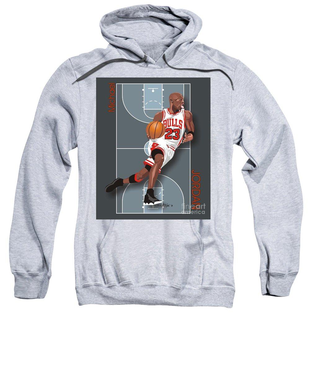 Portraits Sweatshirt featuring the digital art Michael Jordan, No. 23 by Walter Neal