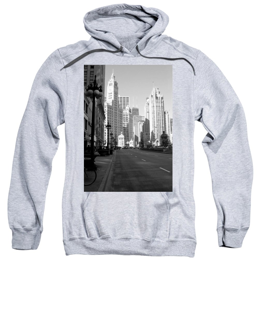 Chicago Sweatshirt featuring the photograph Michigan Ave Tall B-w by Anita Burgermeister