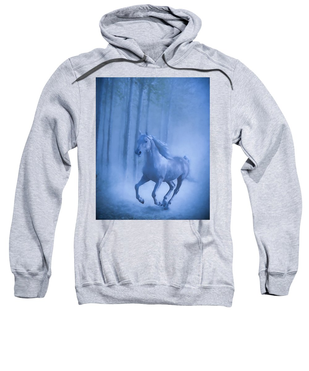 Horse Sweatshirt featuring the photograph Midnight Gallop by Theresa Peterson
