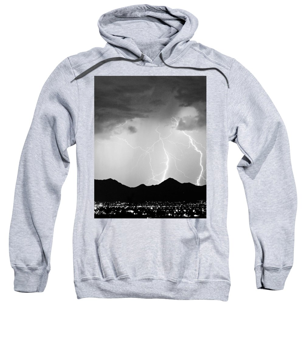 Lightning Sweatshirt featuring the photograph Midnight Hour Black And White by James BO Insogna