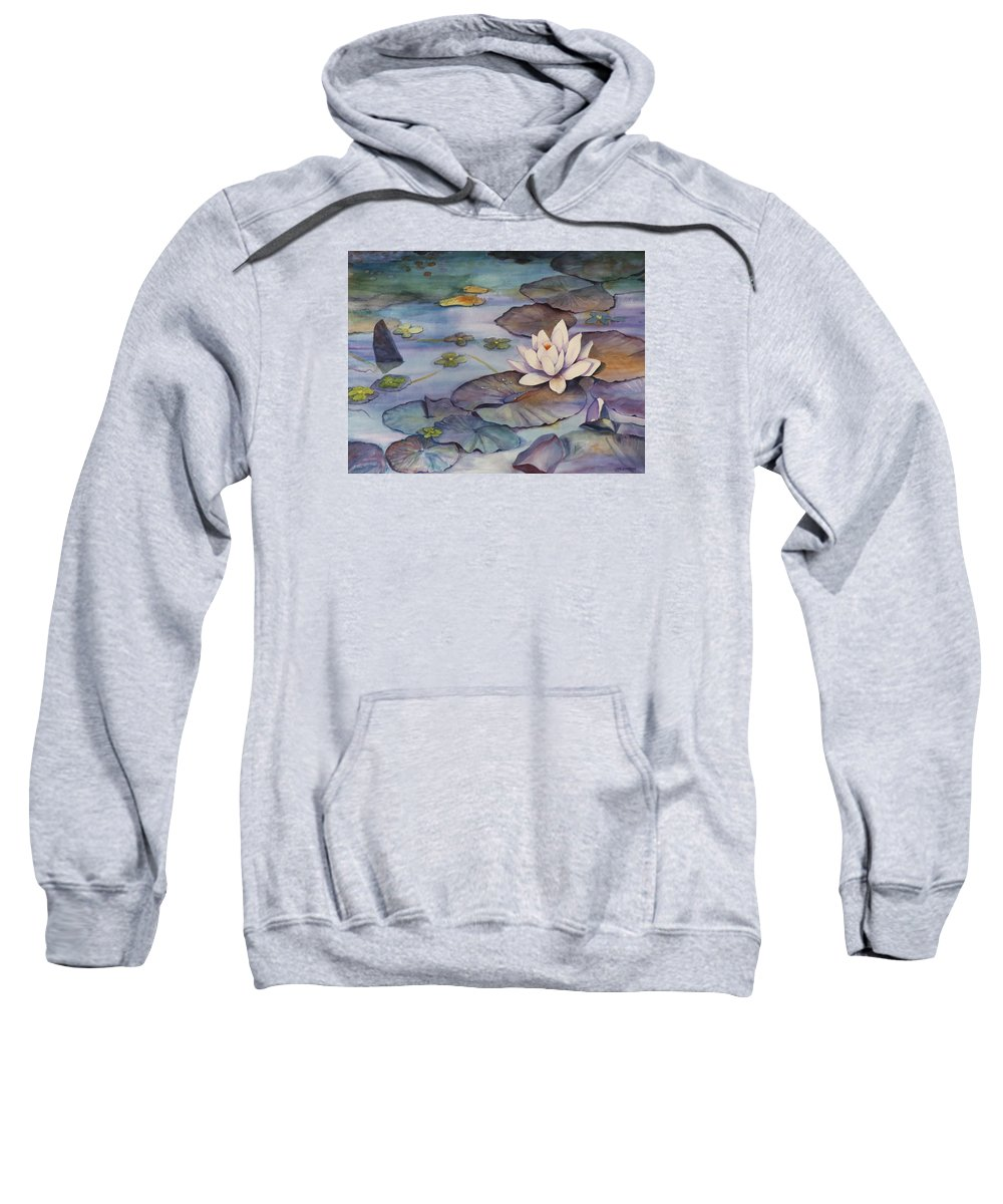 Lily Sweatshirt featuring the painting Midnight Lily by Jun Jamosmos