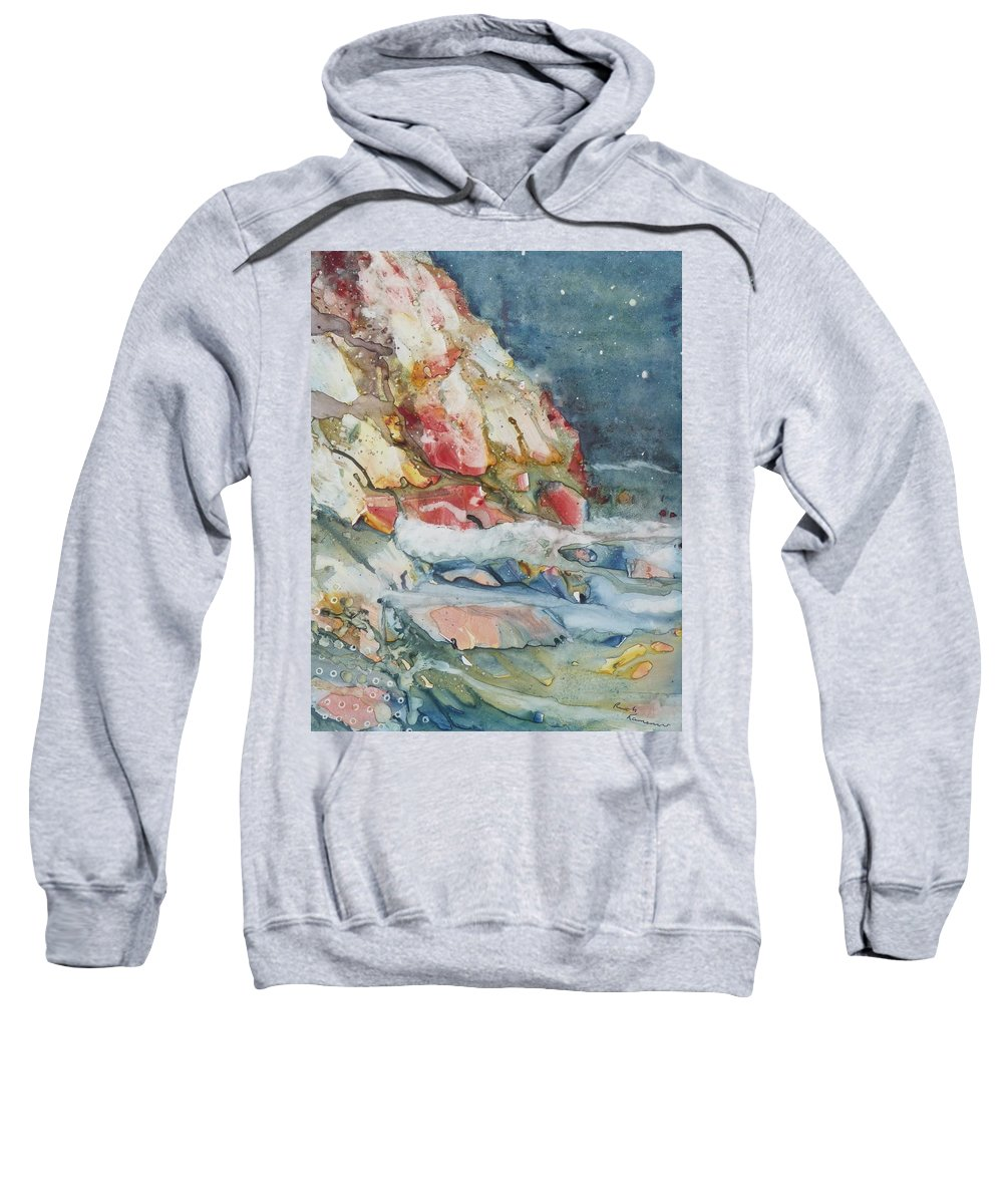 Abstract Sweatshirt featuring the painting Midnight Surf by Ruth Kamenev