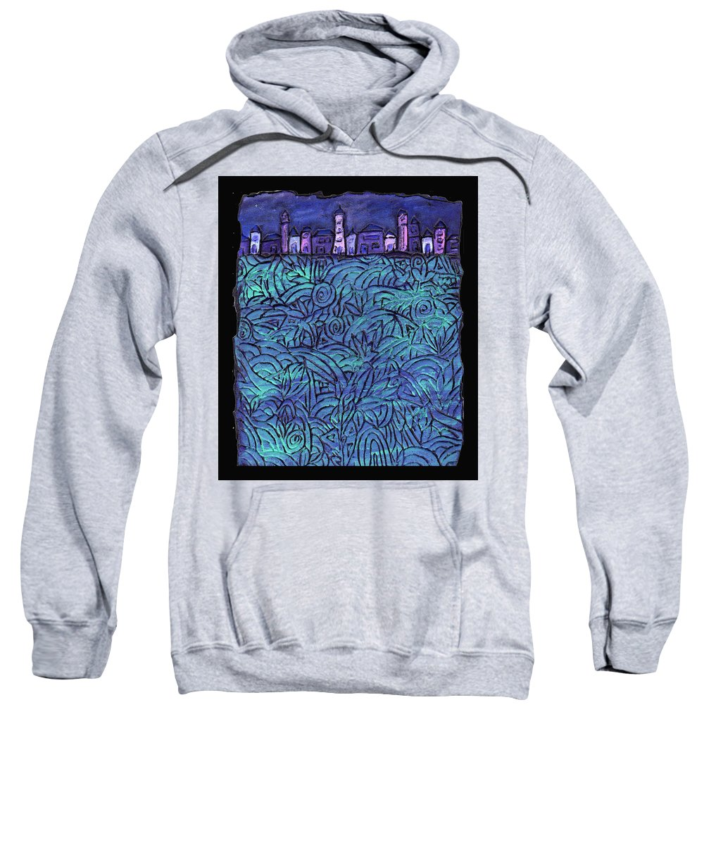 Night Sweatshirt featuring the painting Midnight by Wayne Potrafka
