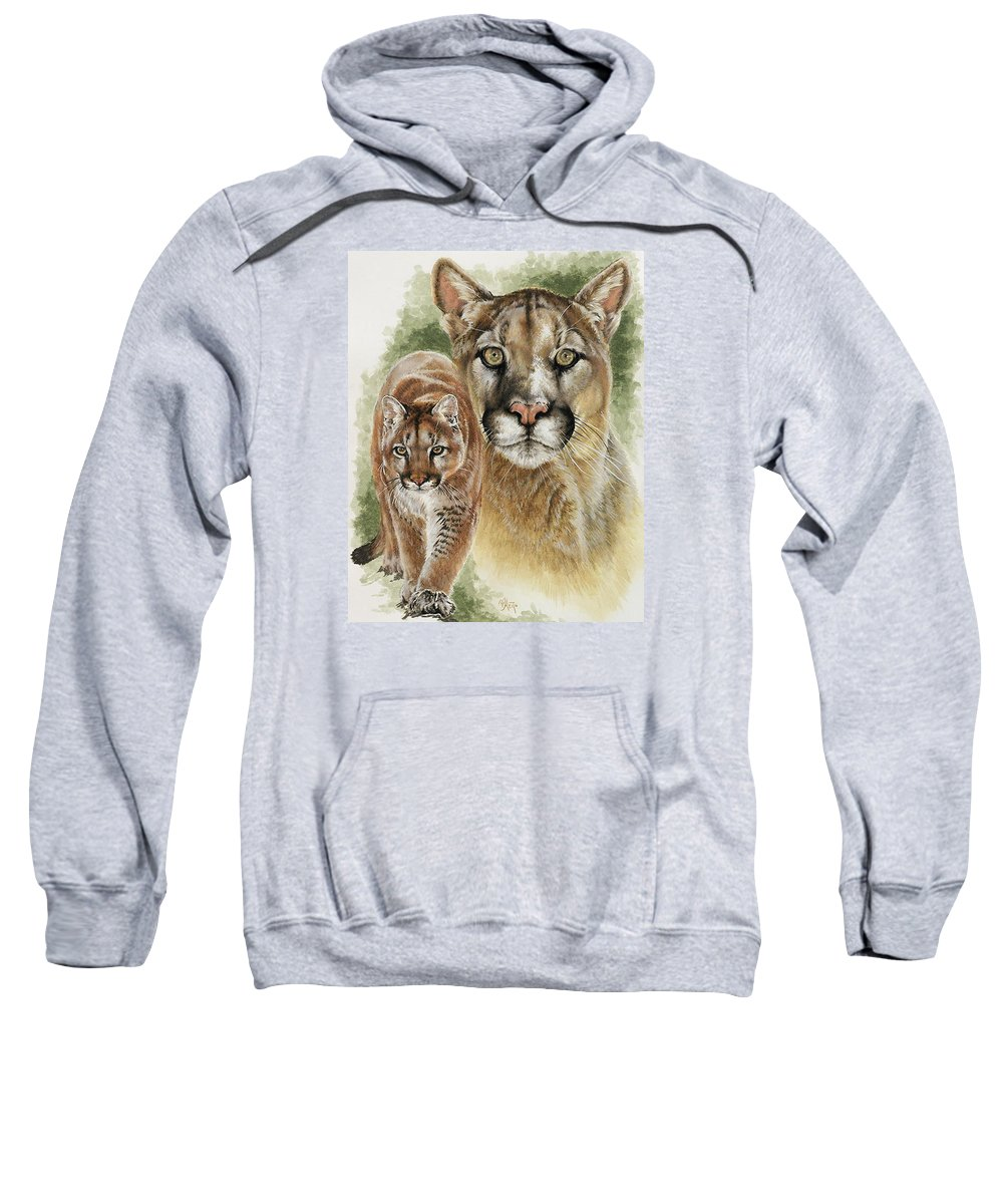 Cougar Sweatshirt featuring the mixed media Mighty by Barbara Keith