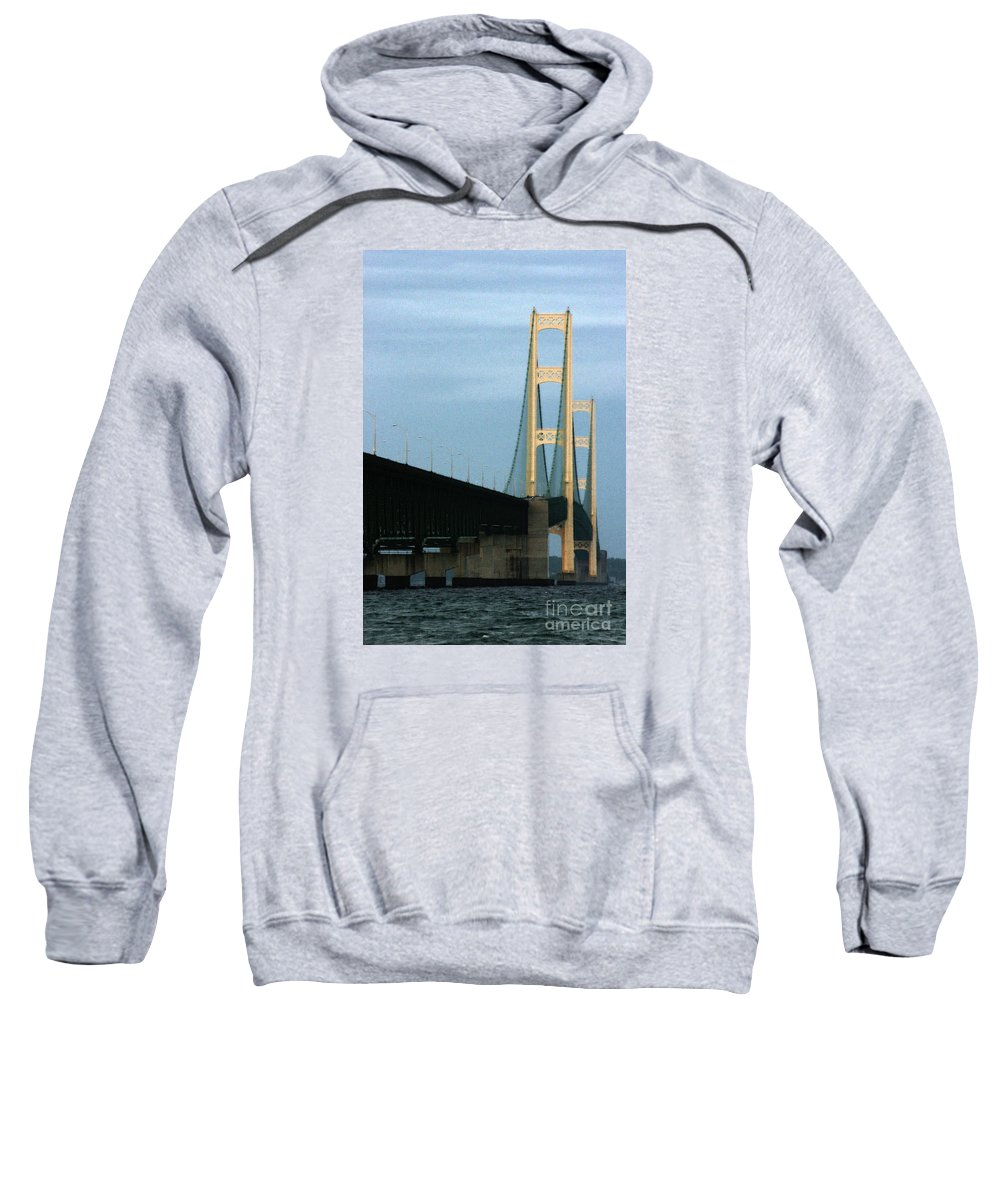 Bridge Sweatshirt featuring the photograph Mighty Mac by Linda Shafer