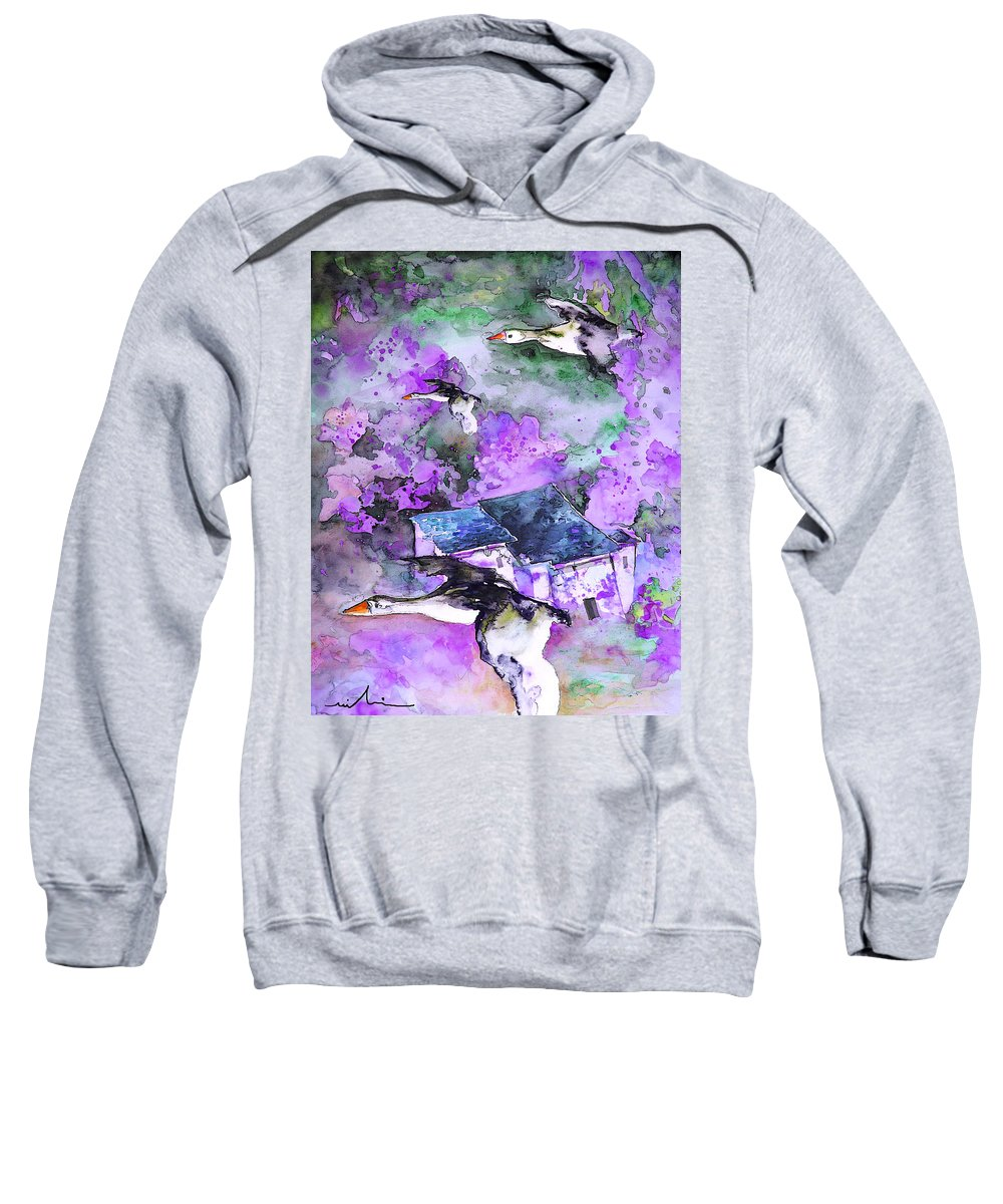 Watercolour Bird Painting Sweatshirt featuring the painting Migration 01 by Miki De Goodaboom