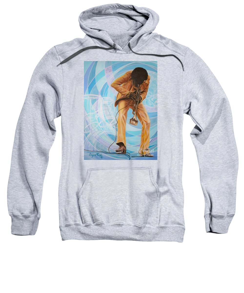 Musician Sweatshirt featuring the painting   Miles Davis In A Yellow Suit by Sigrid Tune