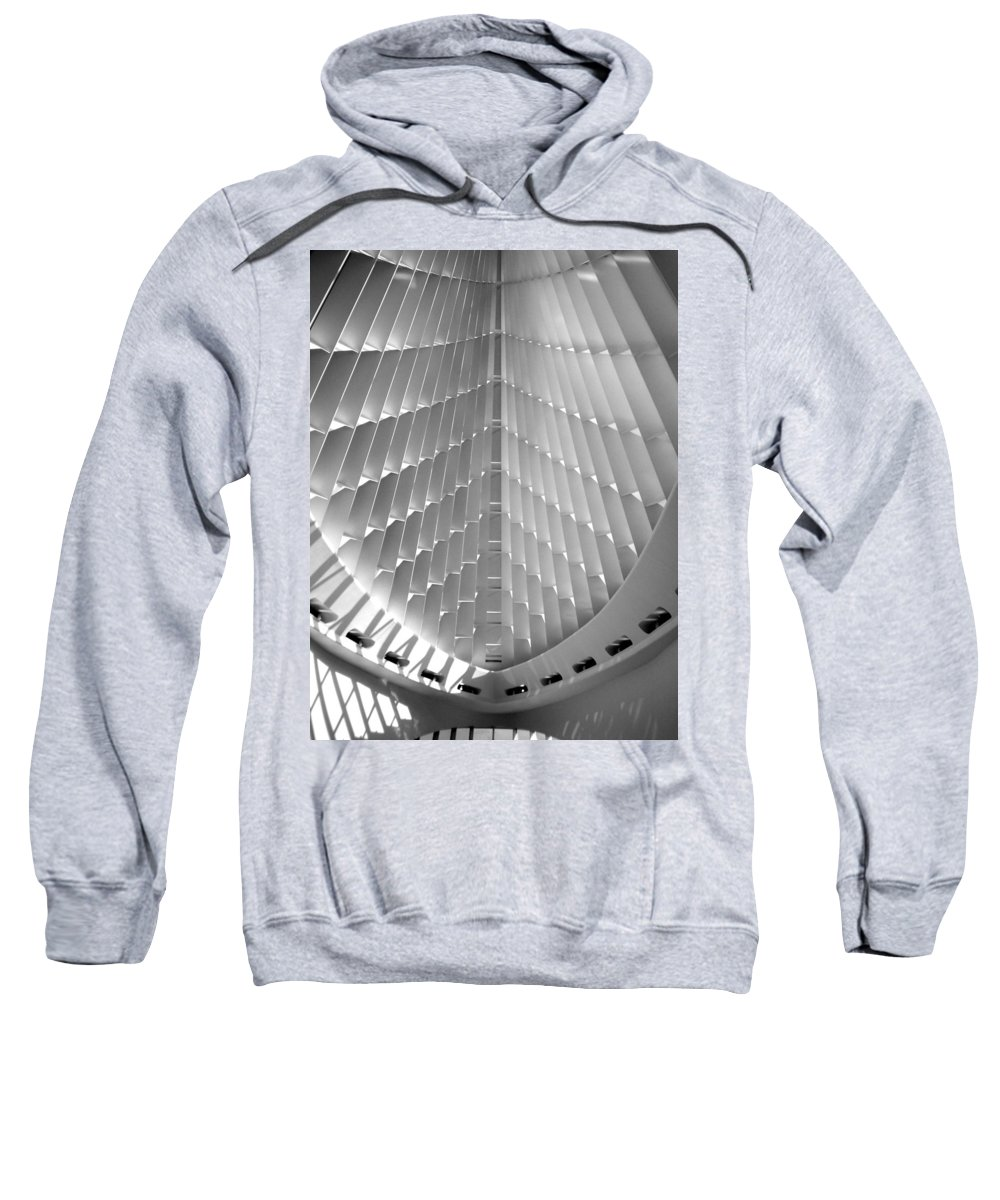 Mam Sweatshirt featuring the photograph Milwaukee Art Museum Interior B-w by Anita Burgermeister
