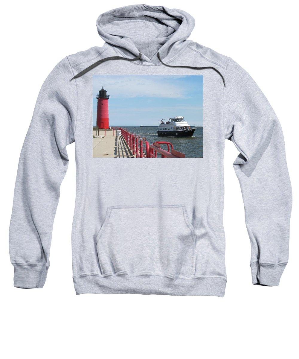 Milwaukee Sweatshirt featuring the photograph Milwaukee Harbor And Boat by Anita Burgermeister
