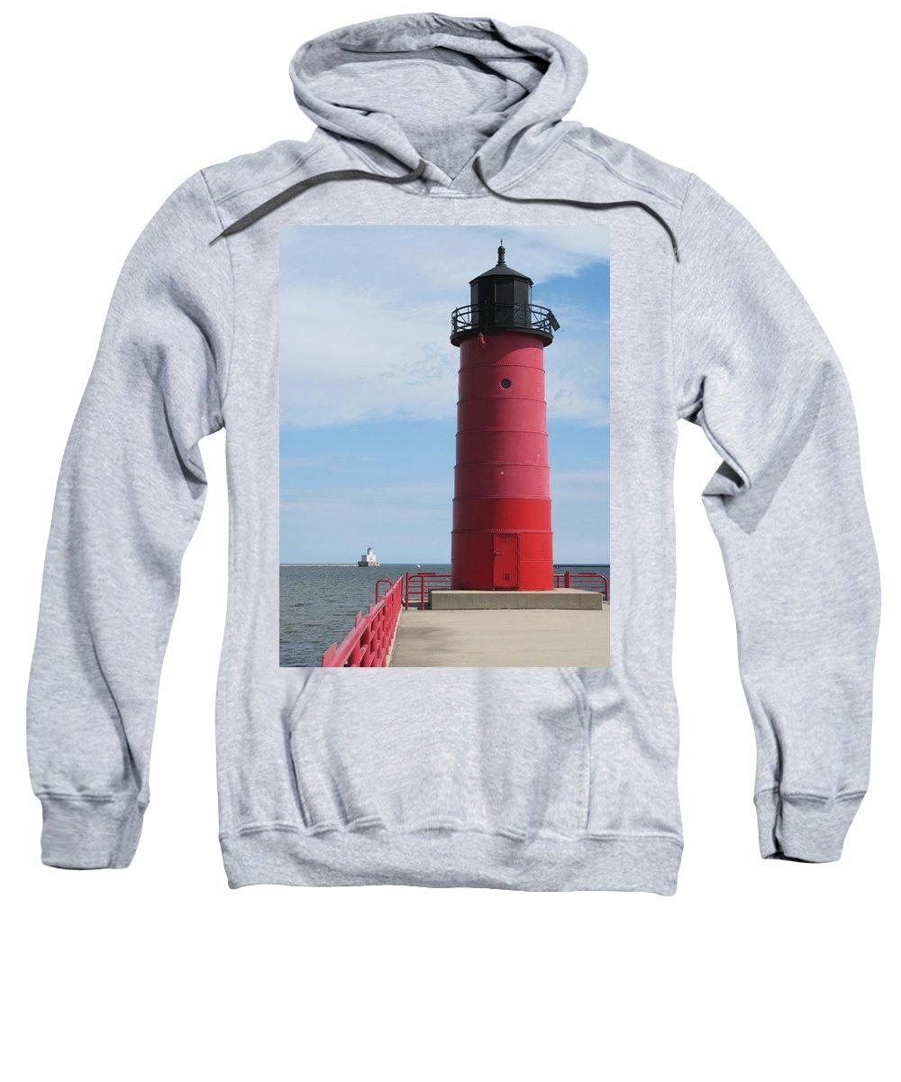 Milwaukee Sweatshirt featuring the photograph Milwaukee Harbor Lighthouse by Anita Burgermeister