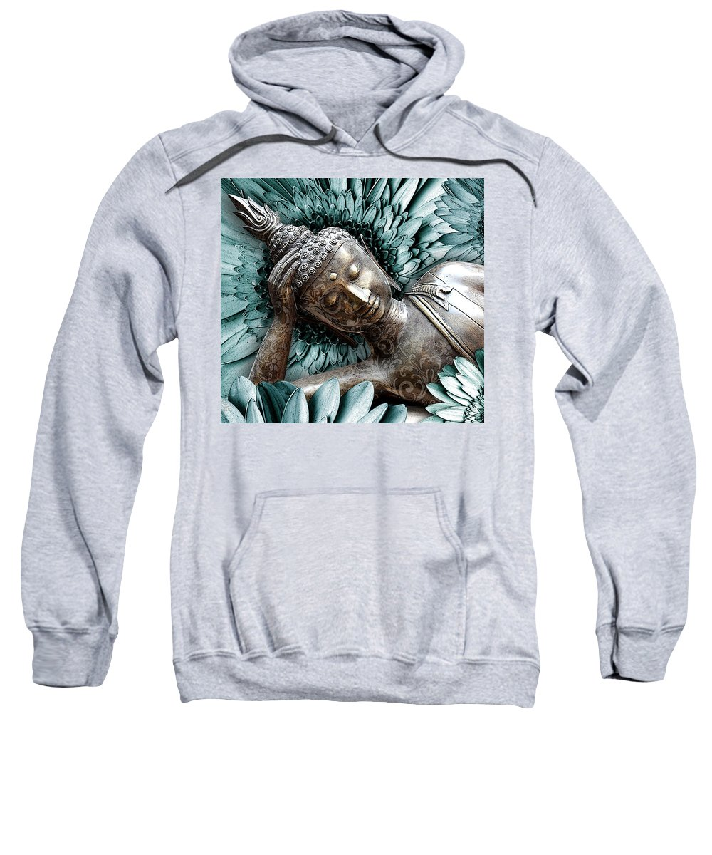 Buddha Sweatshirt featuring the mixed media Mind Bloom by Christopher Beikmann